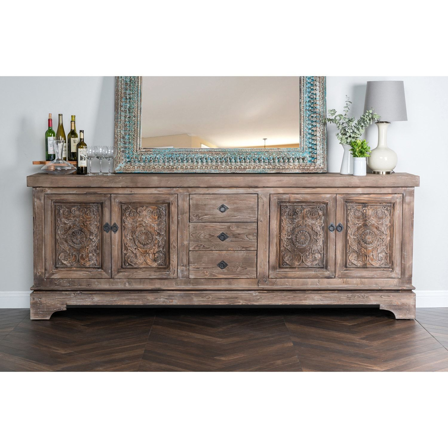 Allen Rustic Taupe Reclaimed Pine 106 Inch Sideboard Throughout Haroun Mocha Sideboards (View 7 of 30)