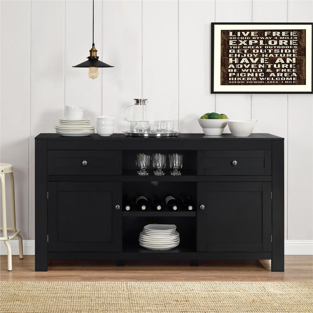 Altra Furniture Hadley Black Buffet With Wine Storage Regarding Contemporary Wine Bar Buffets (View 2 of 30)