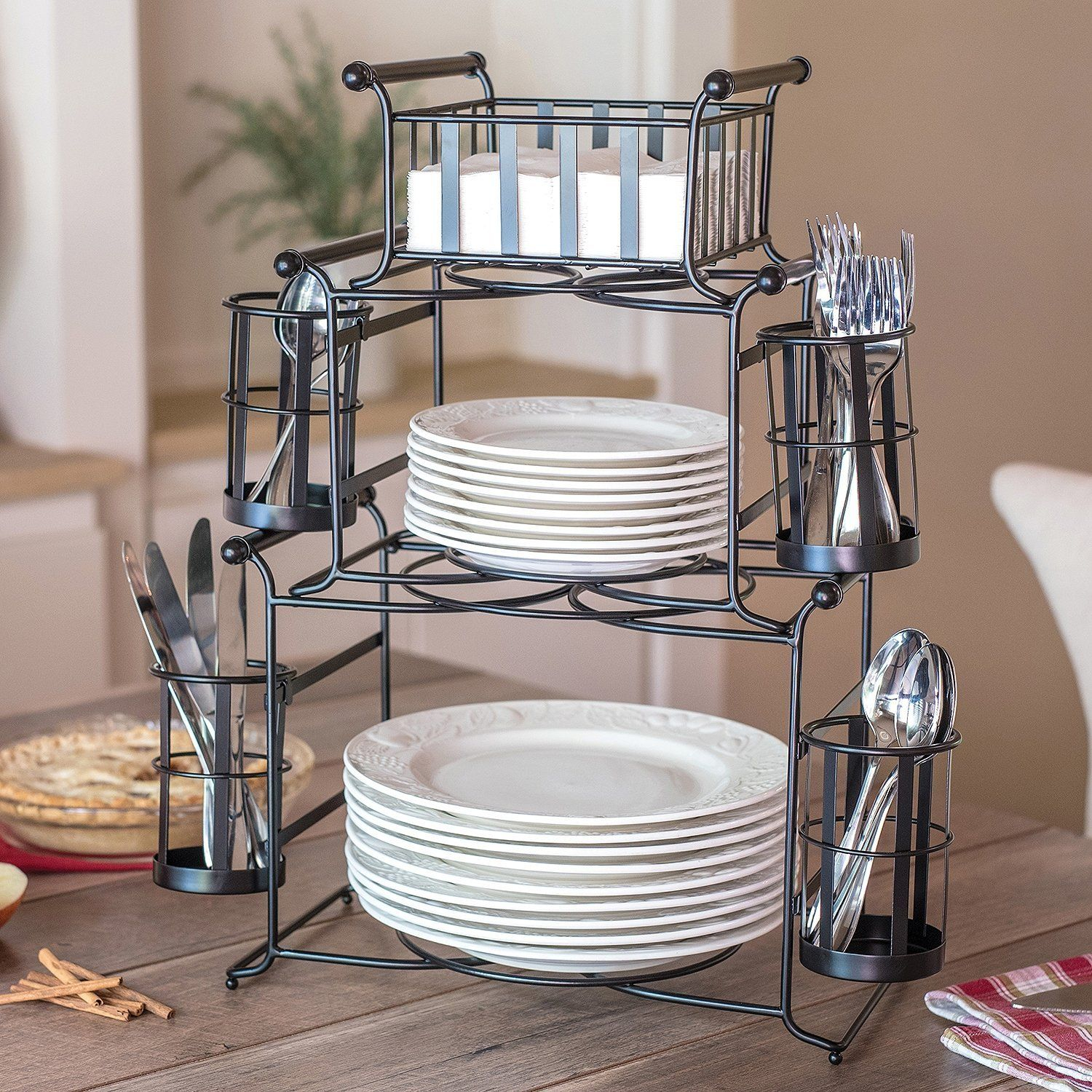 Amazon | 7 Piece Stackable Stripe Buffet Caddy In Six Stripes Buffets (View 3 of 30)