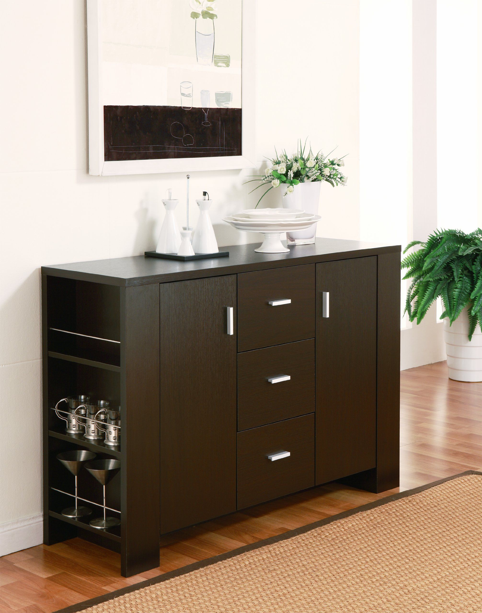 Amazon – Furniture Of America Quincy Dining Buffet Regarding Contemporary Espresso 2 Cabinet Dining Buffets (View 2 of 30)