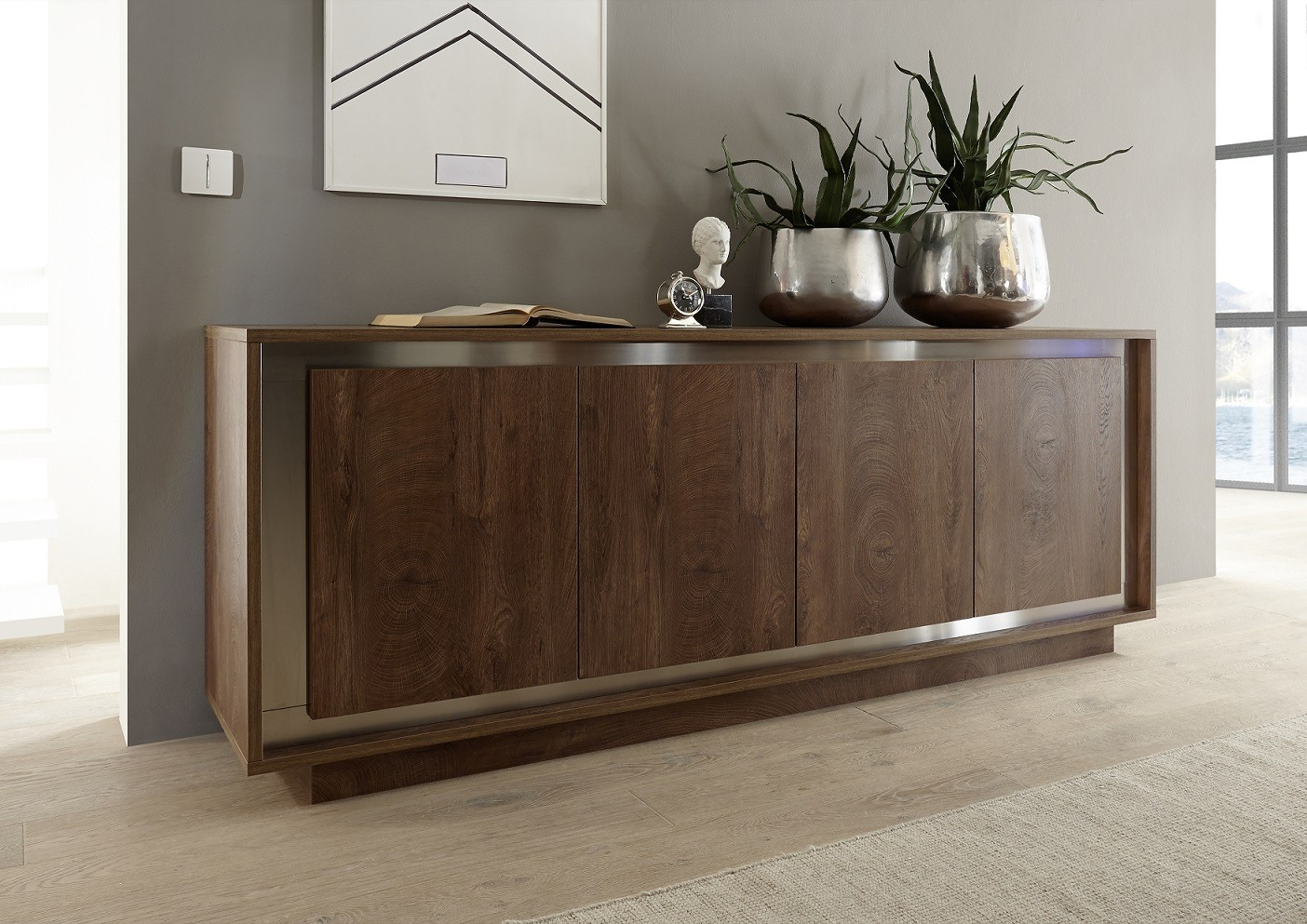 Amber Modern Sideboard In Oak Cognac Finish With Inlays For Contemporary Black Buffets (View 1 of 30)