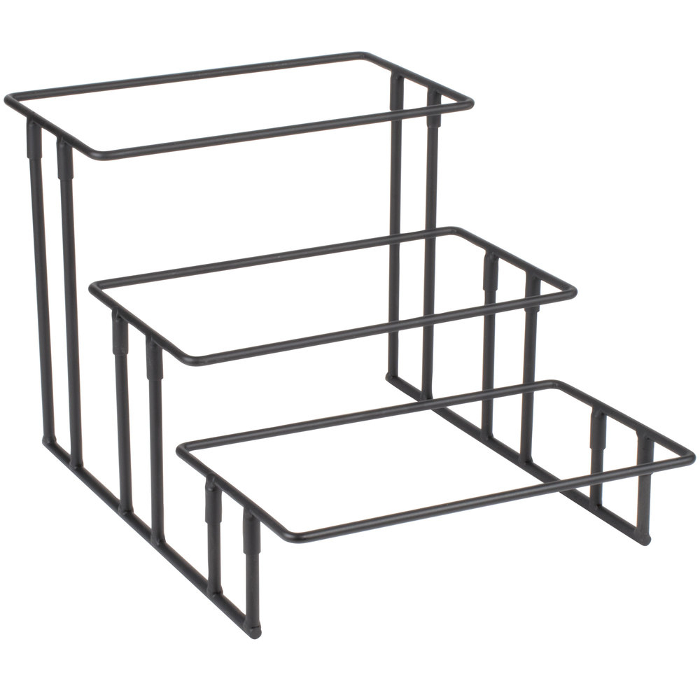 American Metalcraft Is18 Ironworks Three Tier Stairstep Rectangular Display Stand Regarding Contemporary Three Tier Glass Buffets With Black Metal Frame (View 1 of 30)