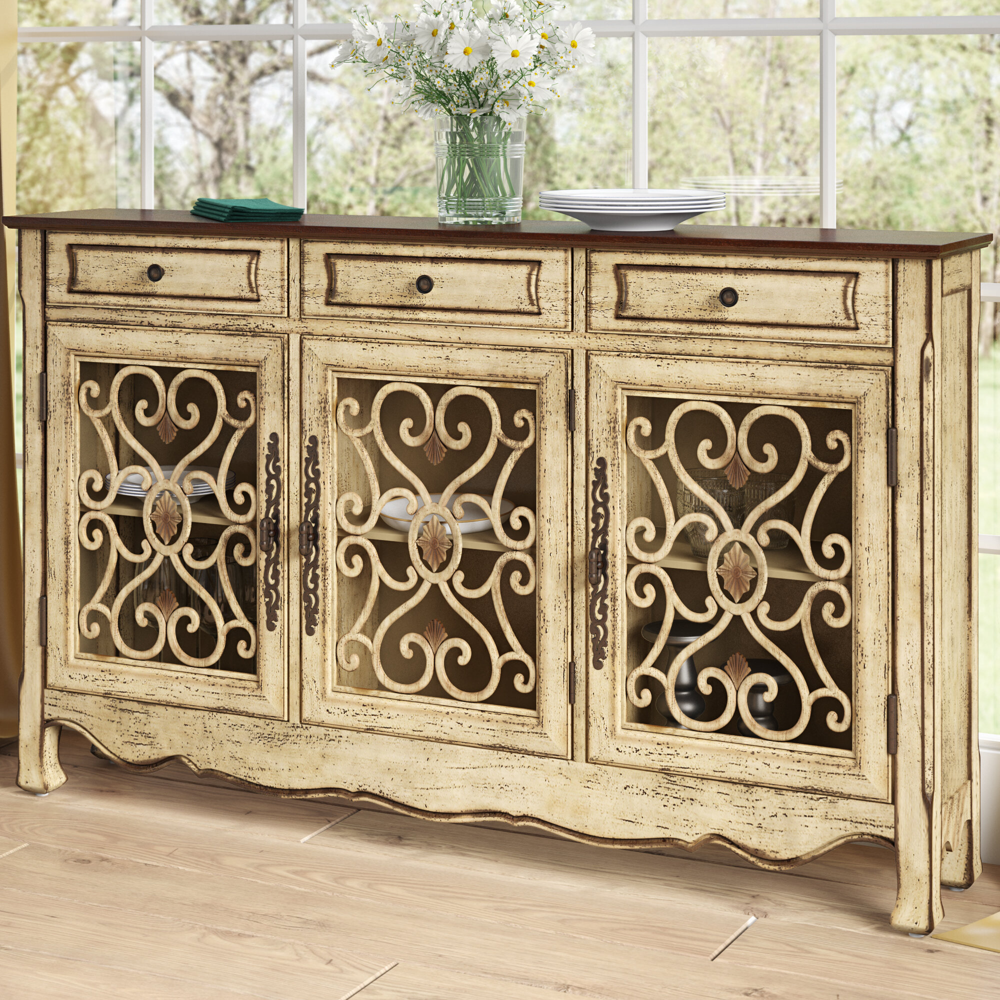 Antique Green Sideboard | Wayfair with regard to Knoxville Sideboards (Image 5 of 30)