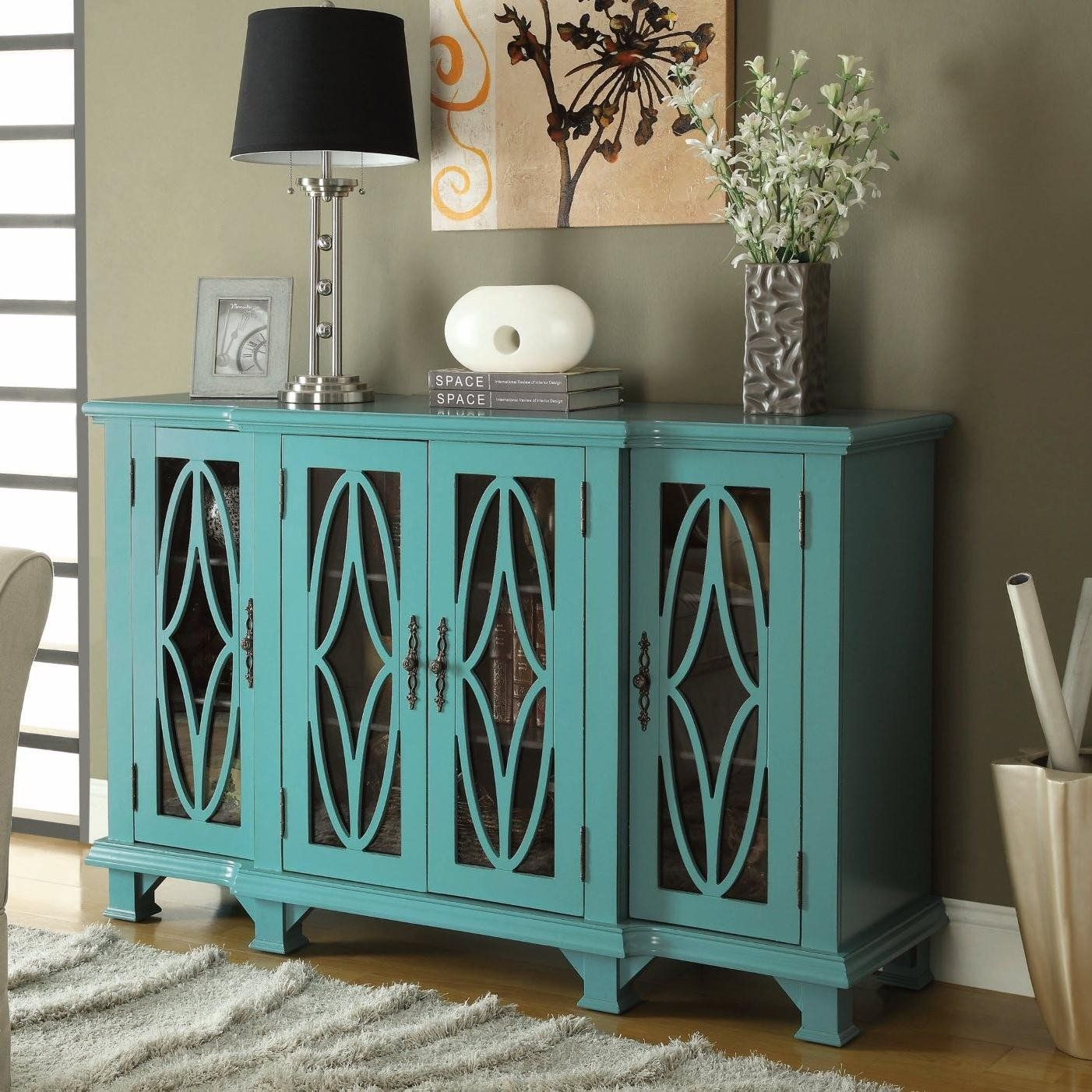 Apotime Modern Console Cabinet Turquoise/white In 2019 | For With Regard To Mauldin 3 Door Sideboards (View 22 of 30)