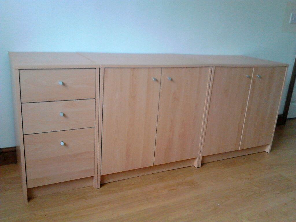 Argos Malibu (2X) 2 Door Cupboard + 3 Draw Cabinet Beech Effect Home Office | In Burton On Trent, Staffordshire | Gumtree Throughout Malibu 2 Door 4 Drawer Sideboards (View 1 of 30)