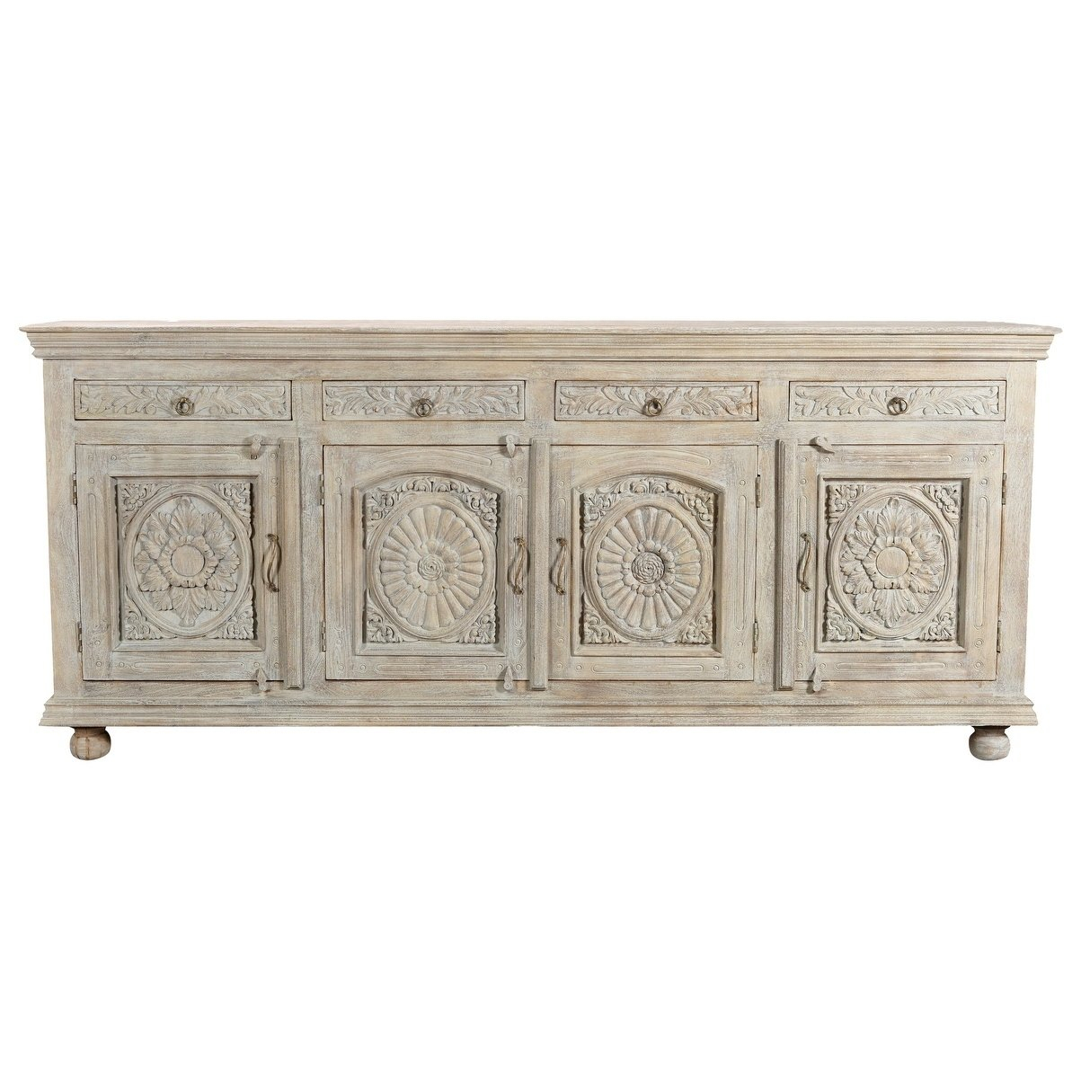 Aria Collection – 4 Drawer 4 Door Carved Sideboard, White Pertaining To Steinhatchee Reclaimed Pine 4 Door Sideboards (View 7 of 30)