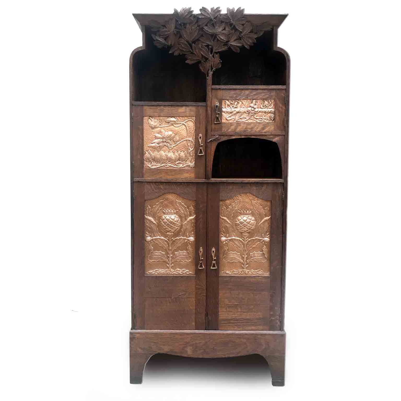 Art Nouveau Scottish Mackintosh Style Cabinet Carved Oak Floral Copper In Lovely Floral Credenzas (View 9 of 30)