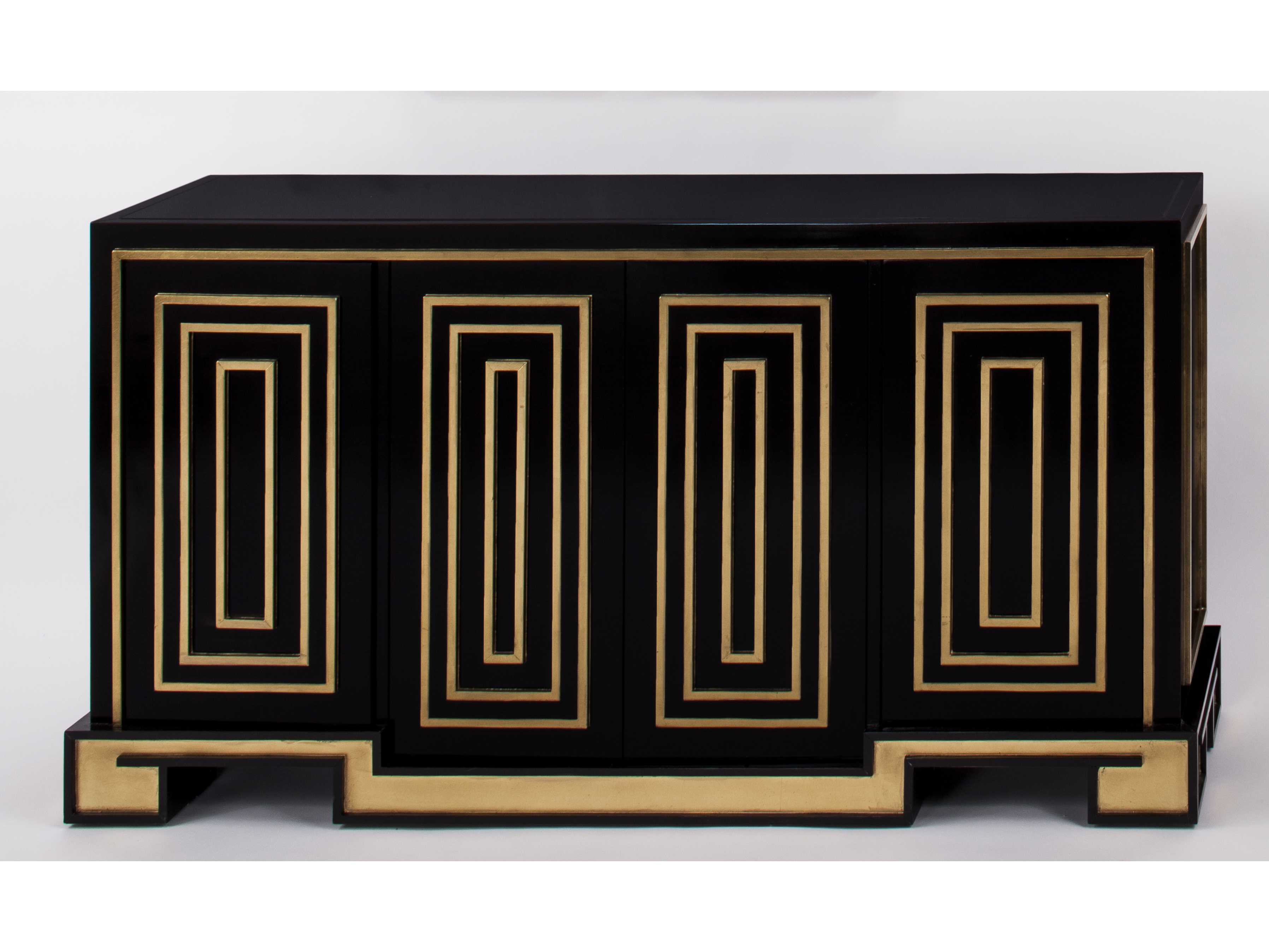 Artmax 63.5 X 34 Gold Leaf & Black Lacquer Credenza Cabinet for Multi Stripe Credenzas (Image 3 of 30)