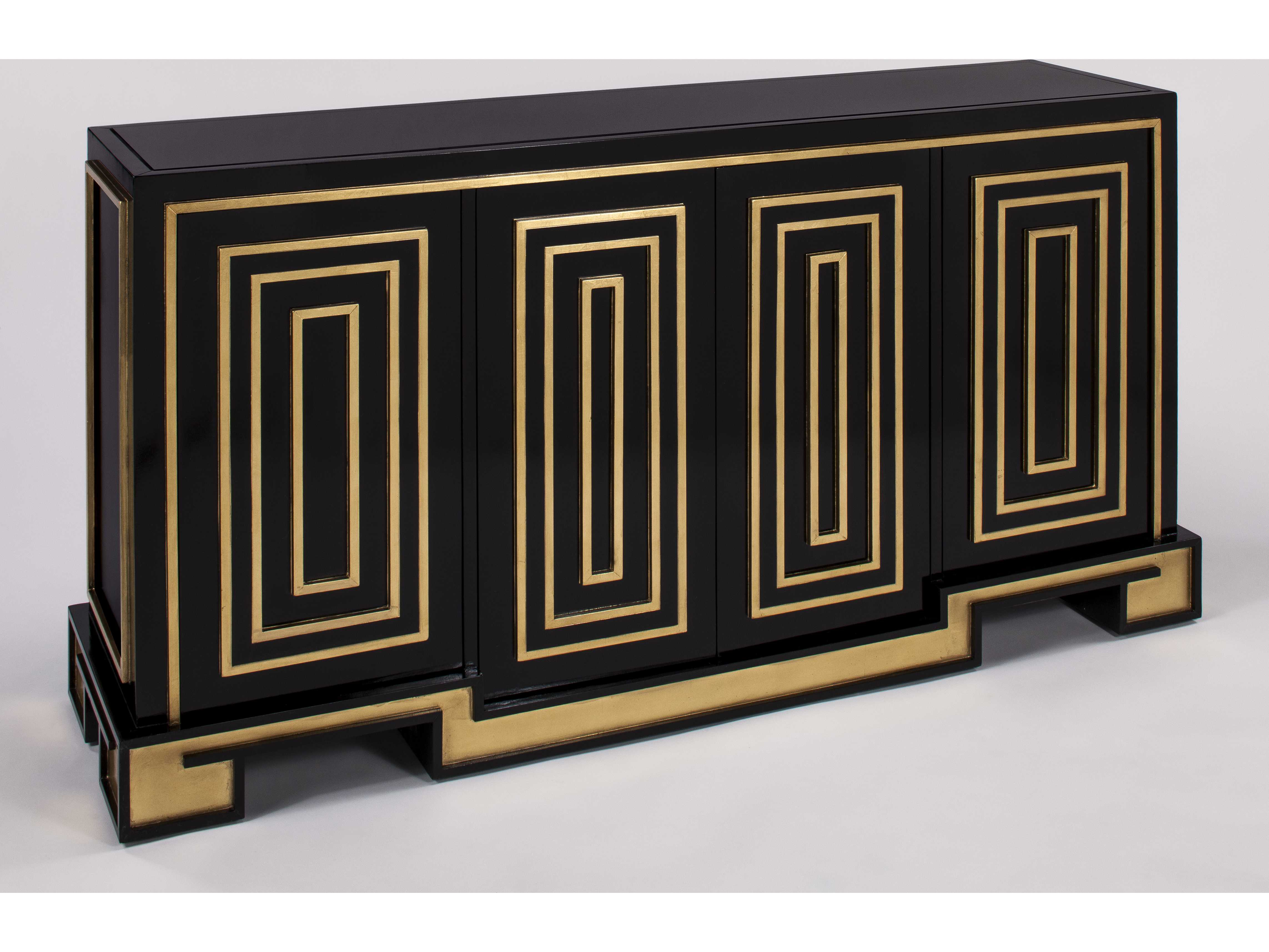 Artmax 63.5 X 34 Gold Leaf & Black Lacquer Credenza Cabinet in Multi Stripe Credenzas (Image 4 of 30)