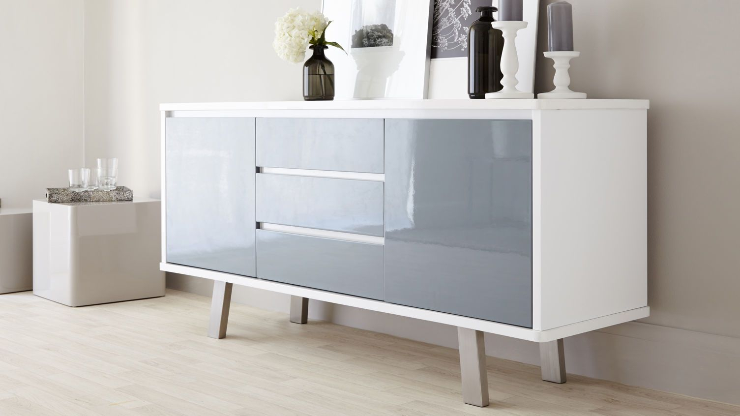 Assi White And Grey Gloss Sideboard | Danetti | Stylish With White Wood And Chrome Metal High Gloss Buffets (View 13 of 30)