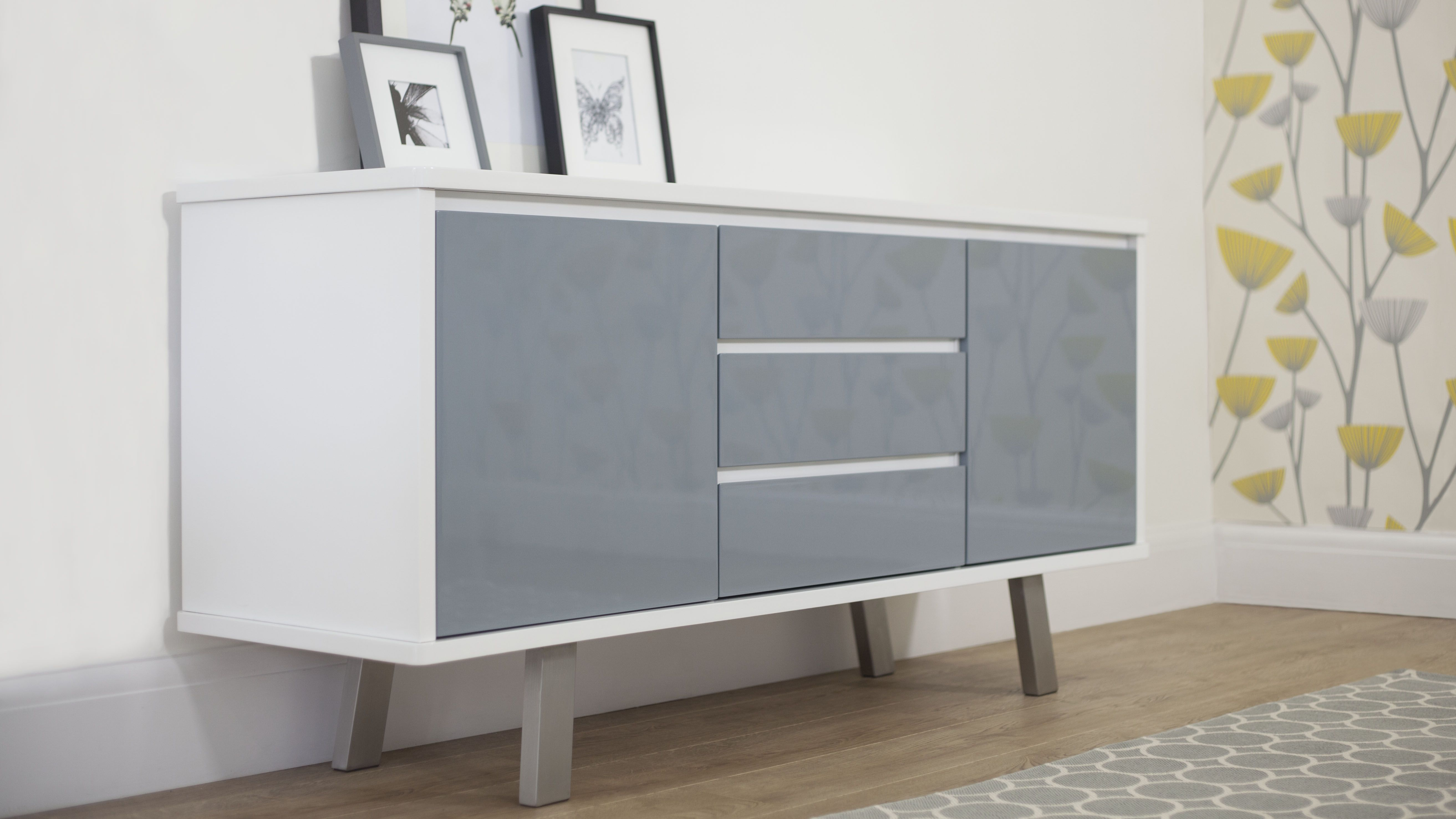 Assi White And Grey Gloss Sideboard | Danetti | Stylish Within Mid Century Modern Glossy White Buffets (View 23 of 30)