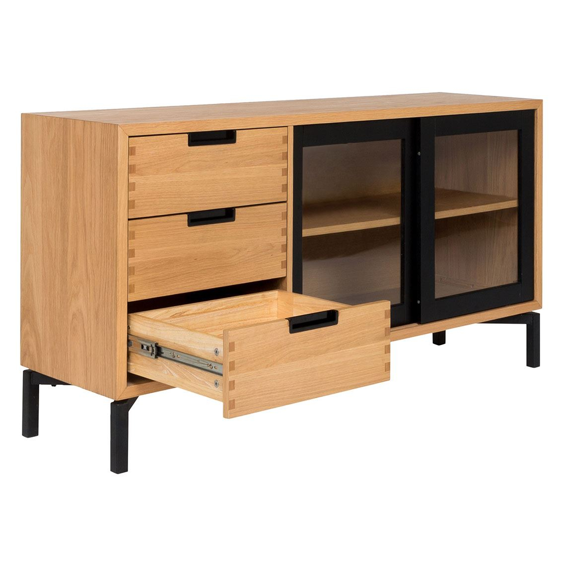 Atelier 2 Door 3 Drawer Buffet, Black & Oak With Regard To 3 Drawer Black Storage Buffets (View 13 of 30)