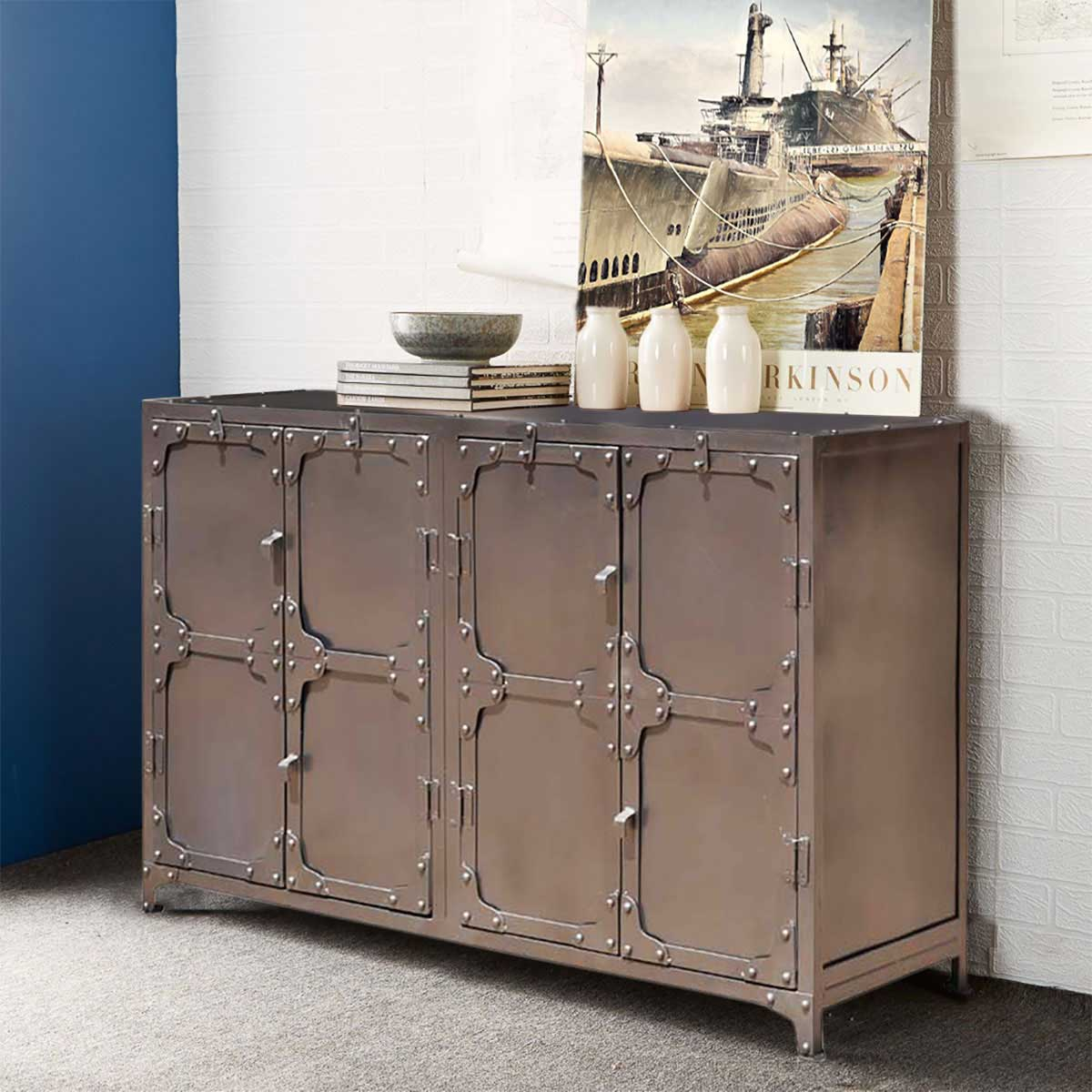 Austin Classic Iron 4 Door Industrial Buffet Cabinet intended for Industrial Style 3-Drawer Buffets (Image 2 of 30)