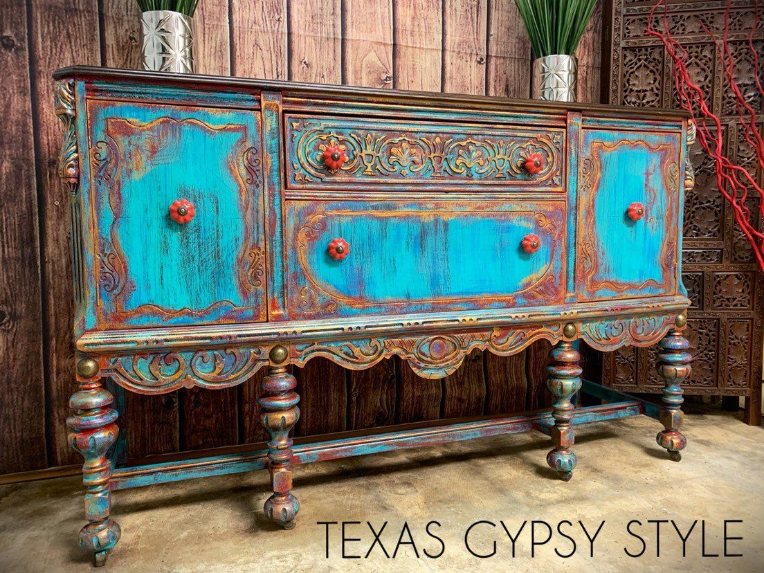 Available! Gypsy Boho Jacobean Buffet, Sideboard, Tv Console Intended For Southwest Pink Credenzas (View 1 of 30)