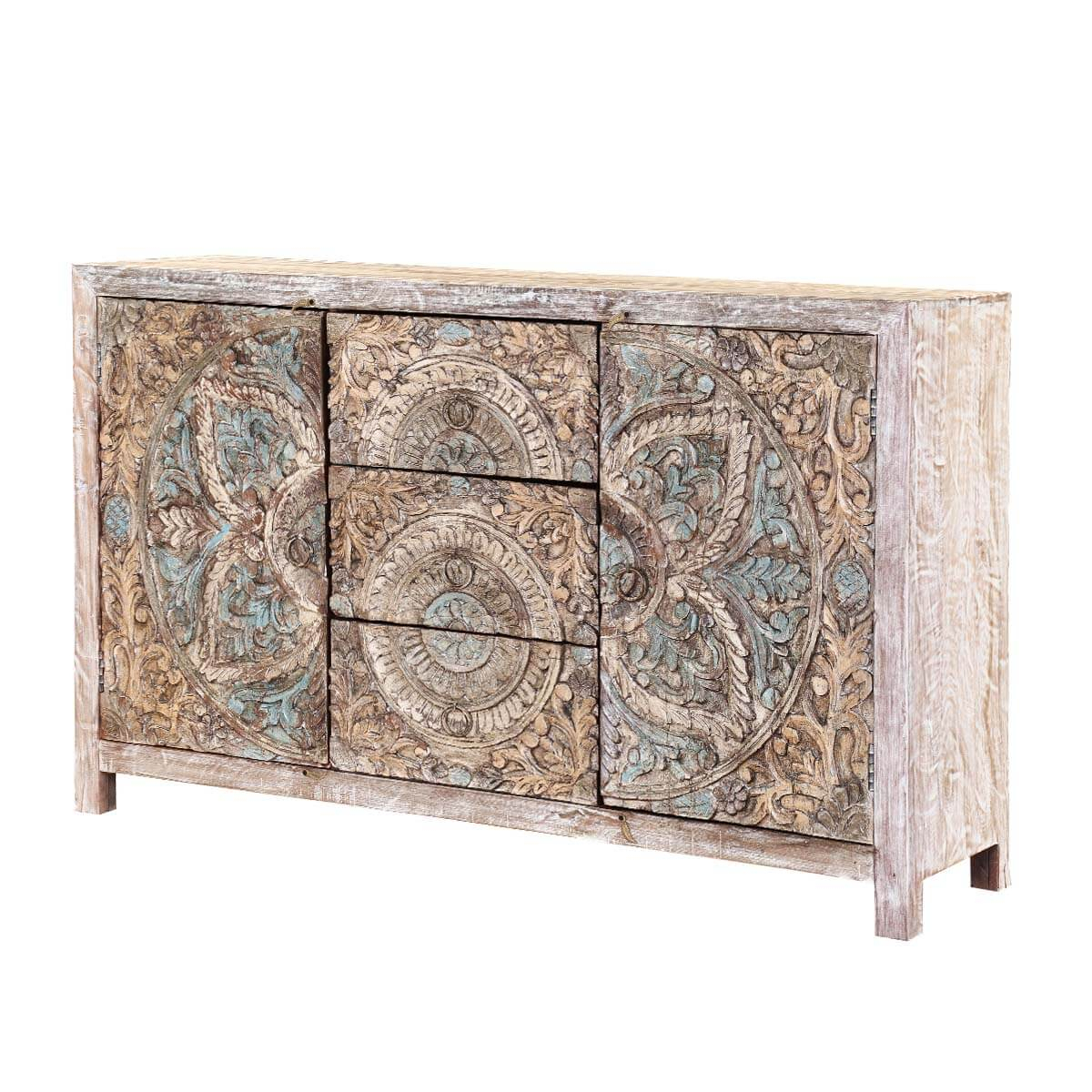 Avenal Floral Mandalas Solid Wood Hand Carved Accent Buffet Cabinet throughout Avenal Sideboards (Image 6 of 30)