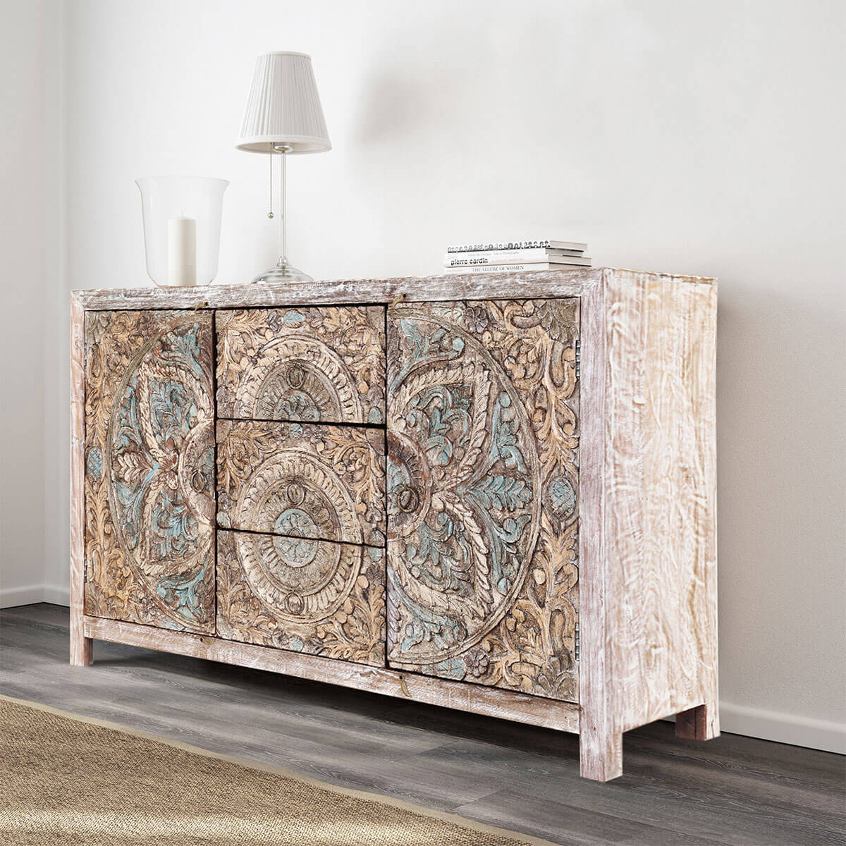 Avenal Floral Mandalas Solid Wood Hand Carved Accent Buffet Cabinet within Avenal Sideboards (Image 7 of 30)