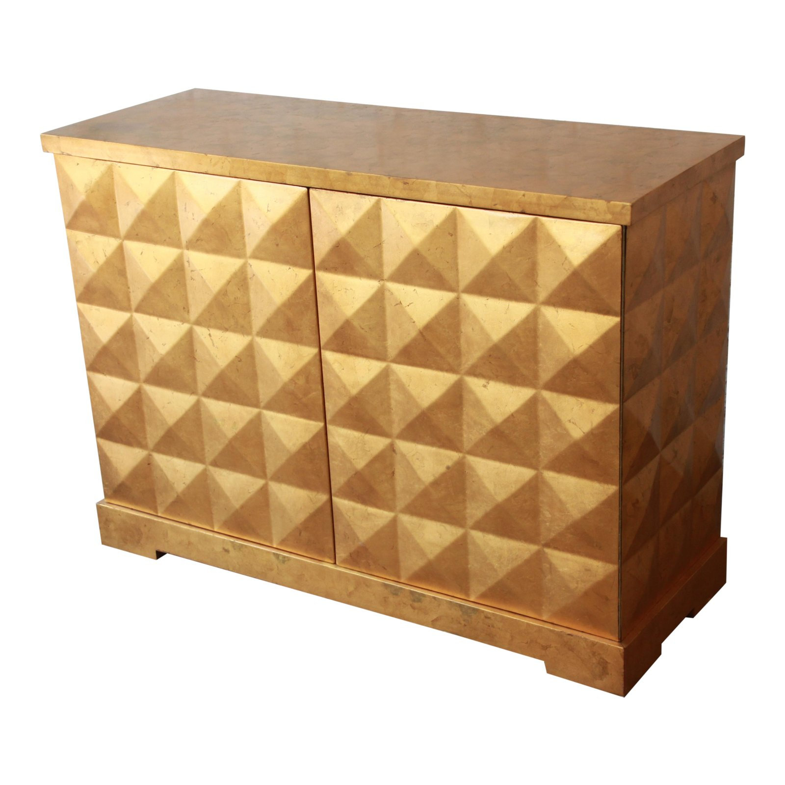 Barbara Barry For Baker Furniture Diamond Gold Leaf Cabinet Or Credenza Throughout Copper Leaf Wood Credenzas (View 2 of 30)