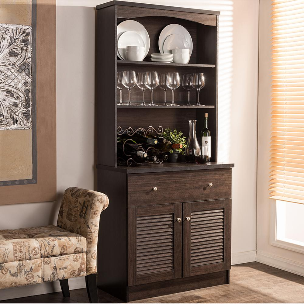 Baxton Studio Agni Dark Brown Wood Buffet With Hutch 28862 intended for Modern Espresso Storage Buffets (Image 2 of 30)