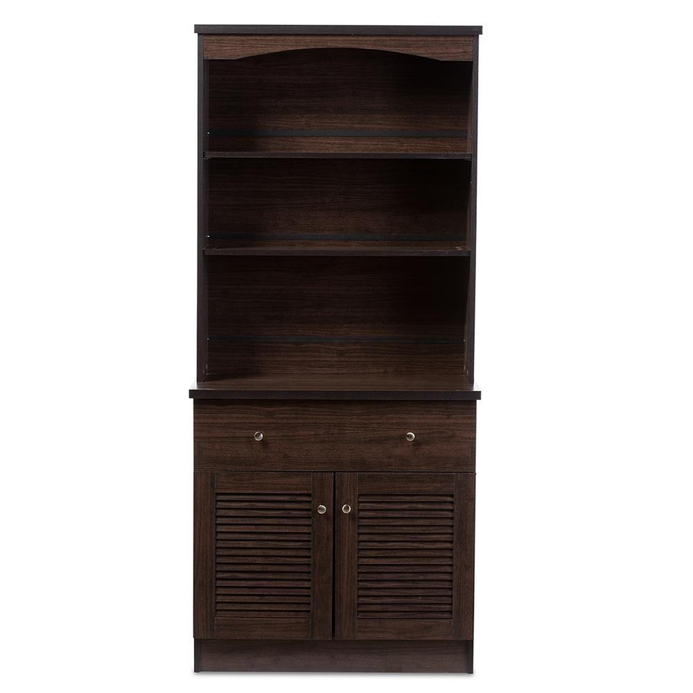 Baxton Studio Agni Dark Brown Wood Buffet With Hutch 28862 Within Contemporary Espresso 2 Cabinet Dining Buffets (View 3 of 30)