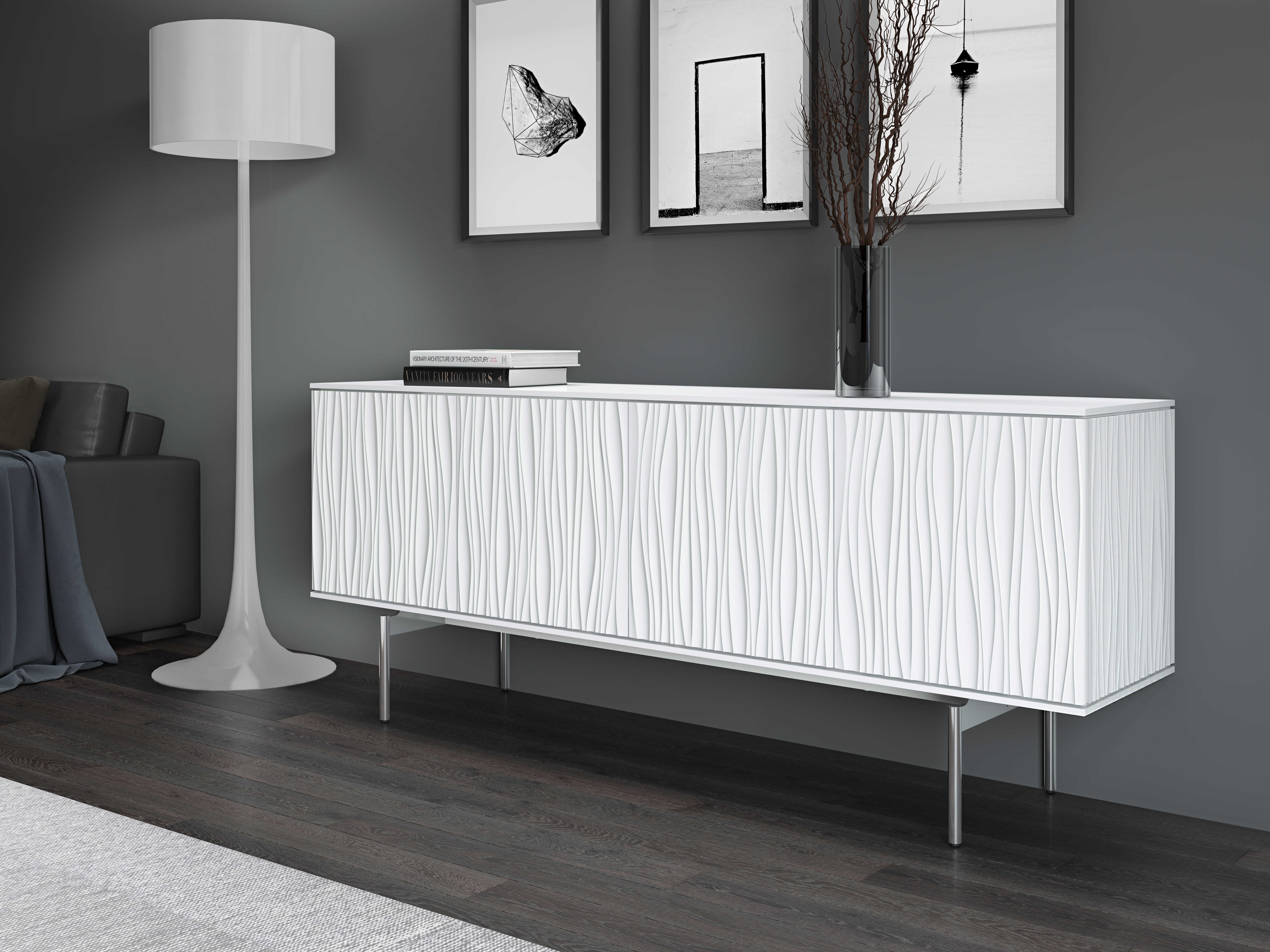 Bdi Tanami Smooth Satin White & Stainless Steel 84''l X 18''w Tv Credenza Within Southwest Pink Credenzas (View 2 of 30)