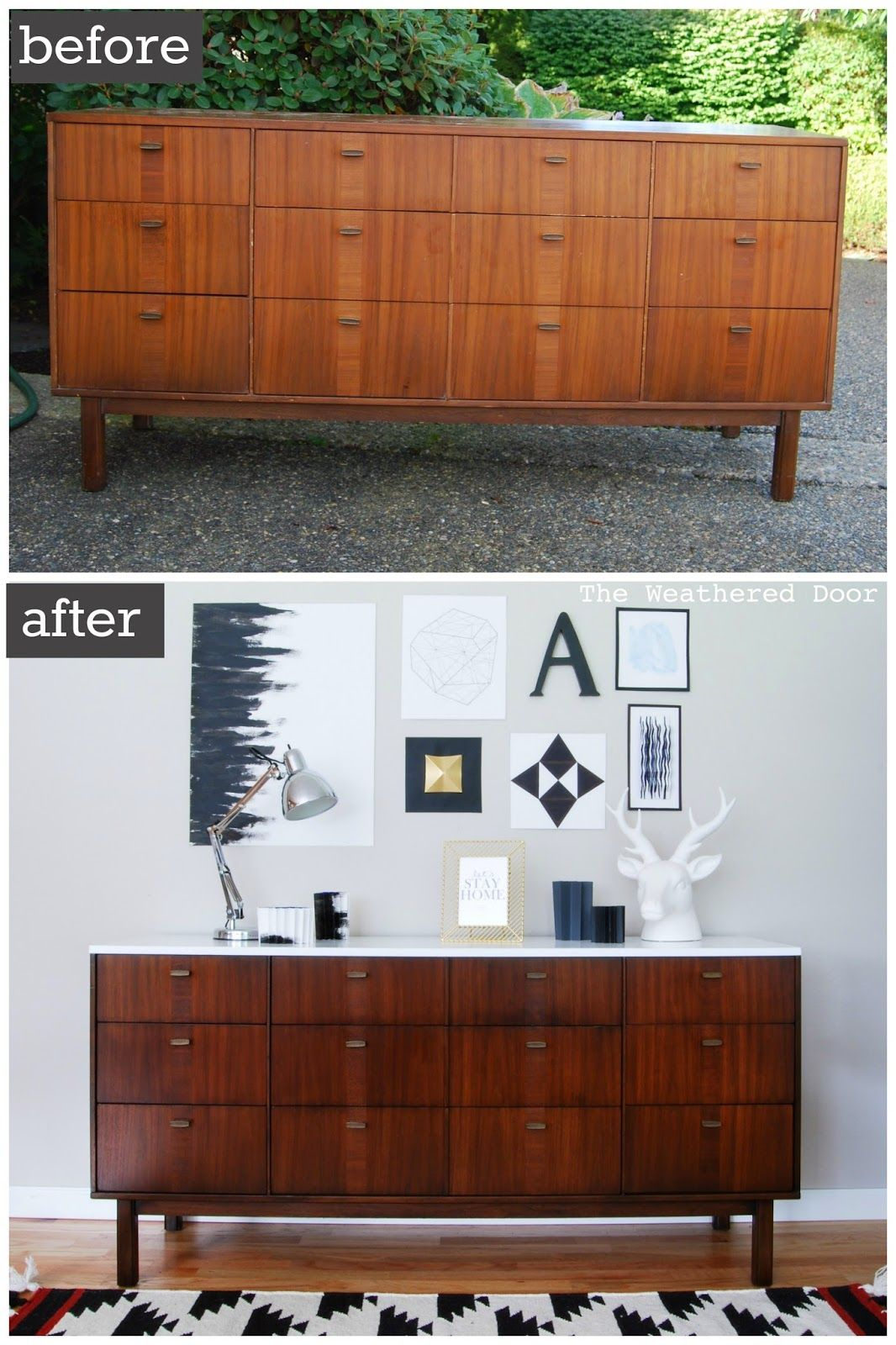 Before & After: Mid Century Modern Credenza With A Glossy In Mid Century Modern Glossy White Buffets (View 7 of 30)