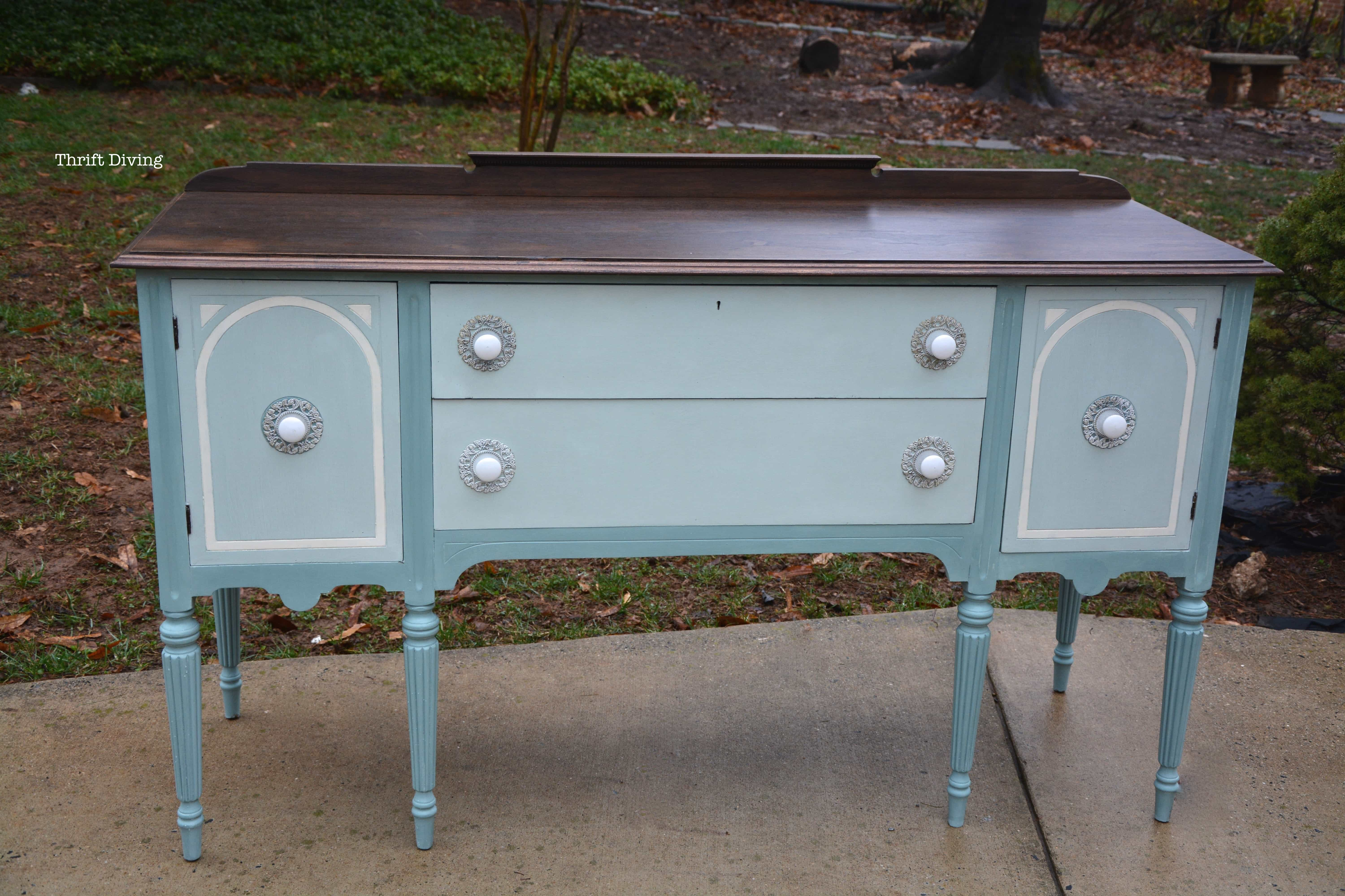 Before And After: A Vintage Buffet Makeover – Thrift Diving Blog Intended For 2 Shelf Buffets With Curved Legs (View 4 of 30)