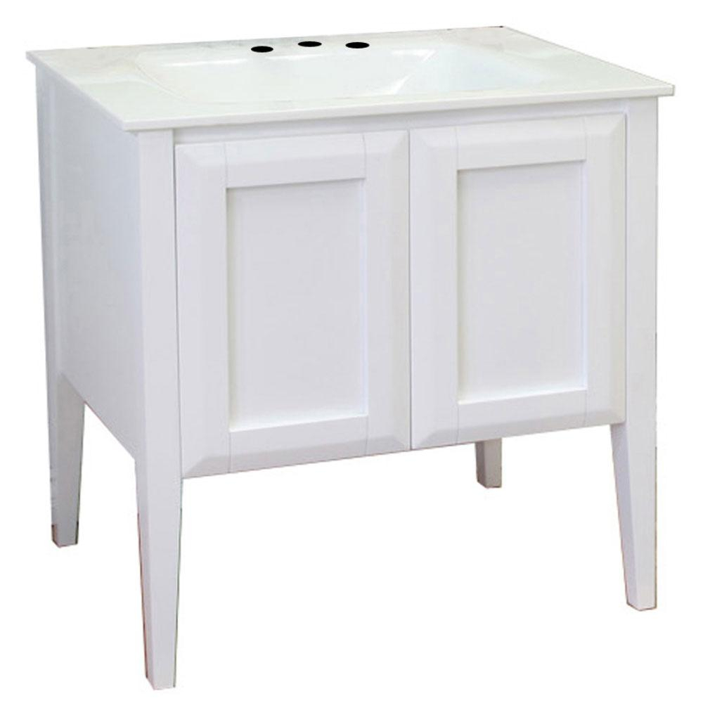 Bellaterra Home Avenal 33.5 In. W X 21.5 In. D Single Vanity In White With  Phoenix Stone Vanity Top In White With White Basin regarding Avenal Sideboards (Image 11 of 30)