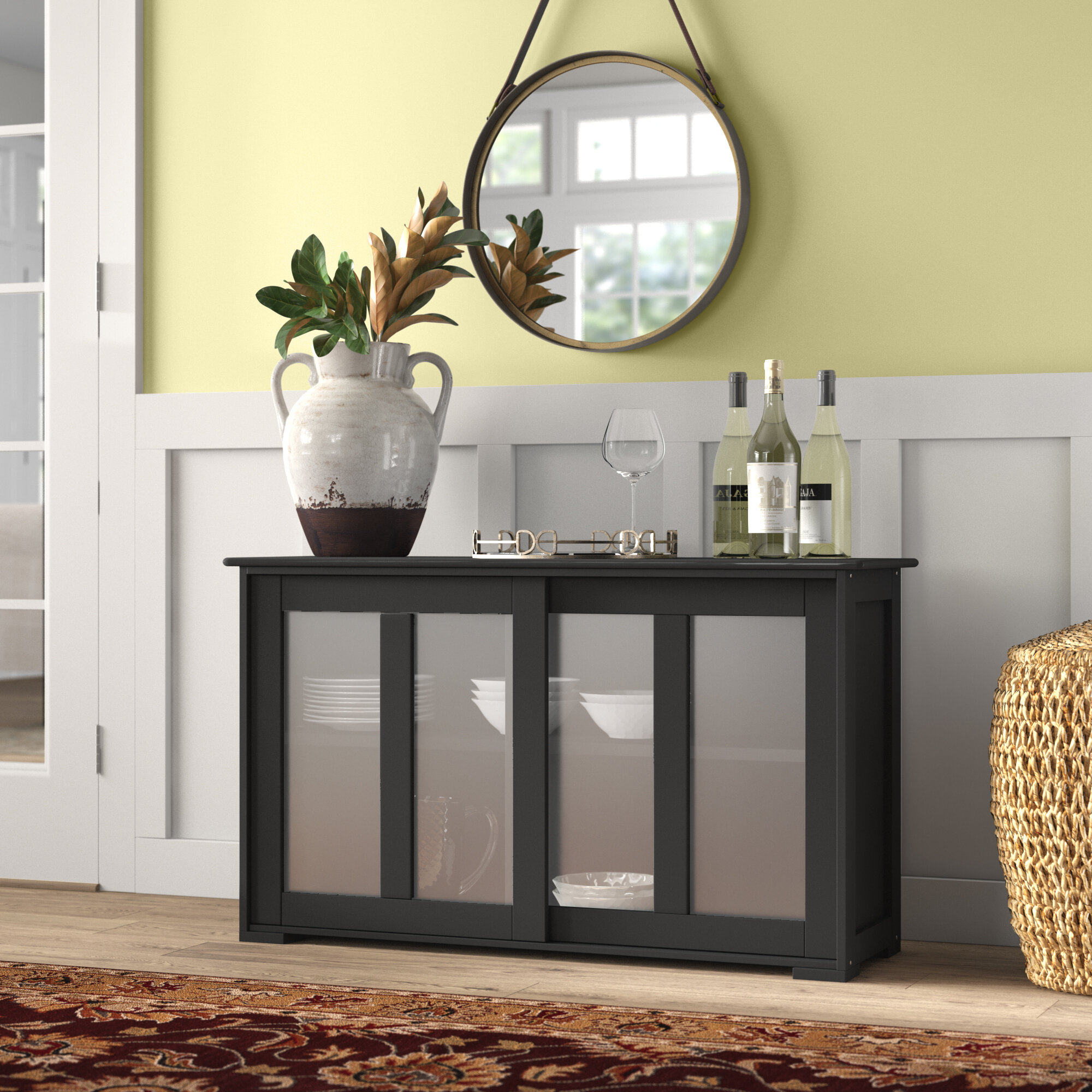 Belpre Sideboard Buffet Table With Simple Living Montego Black Wooden Buffets (View 2 of 30)