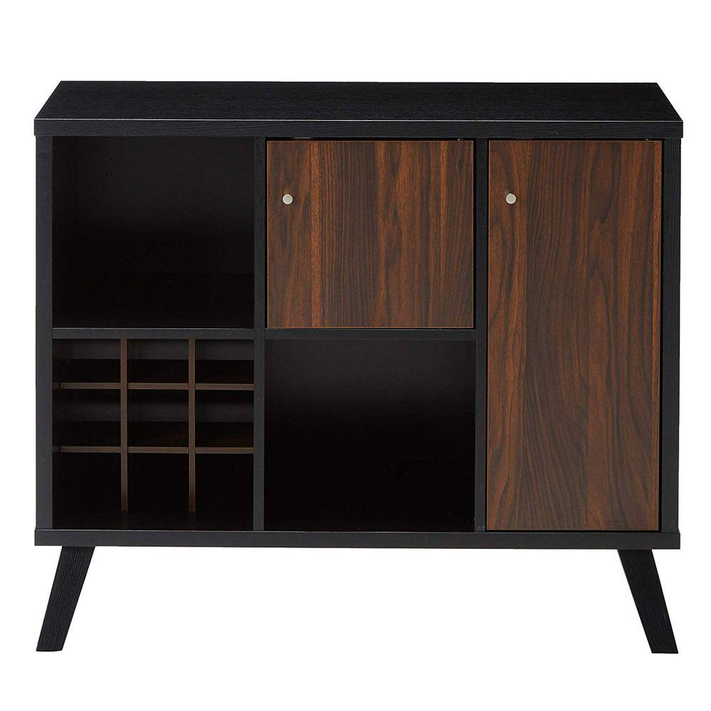 Benjara Black And Brown Wooden Buffet With Angled Legs for Solid and Composite Wood Buffets in Cappuccino Finish (Image 2 of 30)