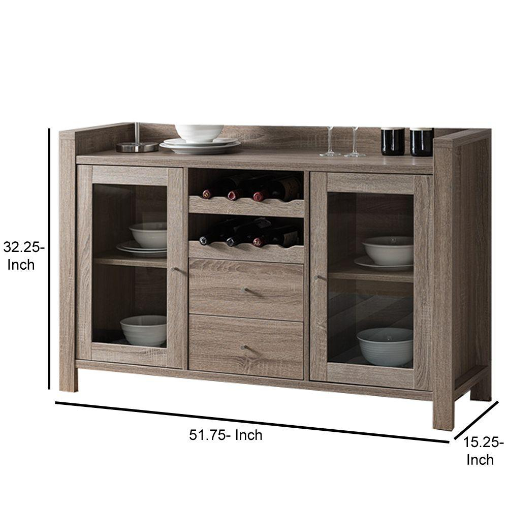 Benjara Dark Brown Wooden Buffet With 2 Drawers Bm179614 Intended For Espresso Wood Multi Use Buffets (View 16 of 30)