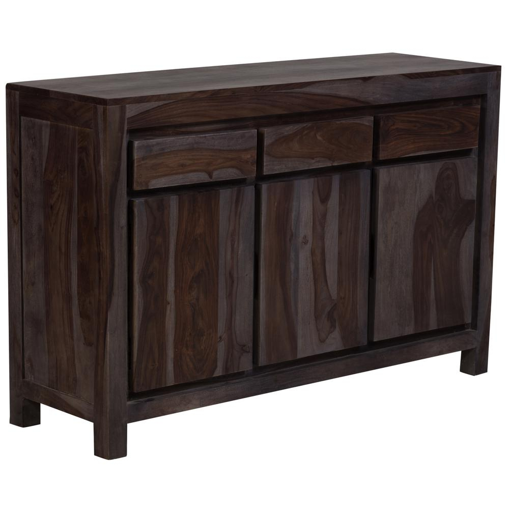 Big Sur Contemporary Solid Sheesham Wood Sideboard In Gray With Regard To Solid Wood Contemporary Sideboards Buffets (View 3 of 30)