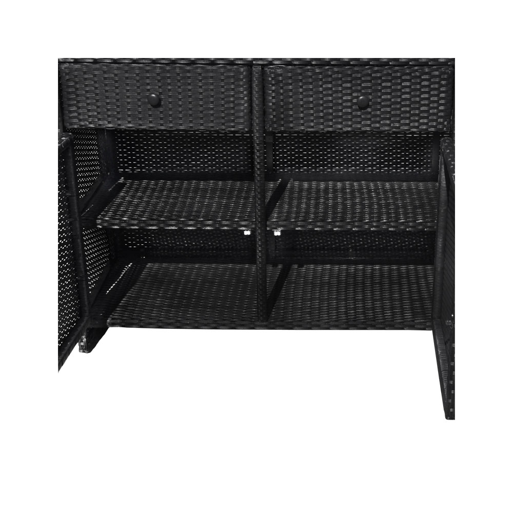 Black 3 Drawers Wicker Rattan Buffet Serving Cabinet Table Towel Storage Counter In 3 Drawer Black Storage Buffets (View 11 of 30)