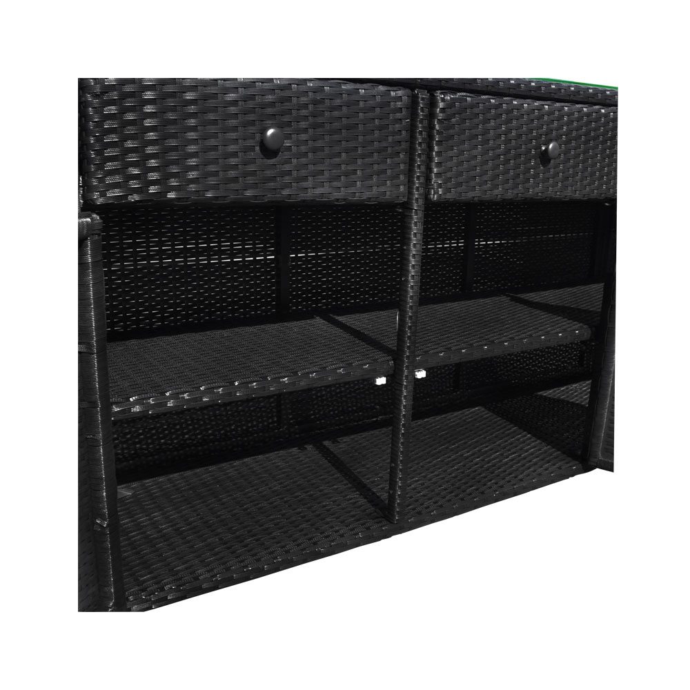 Black 3 Drawers Wicker Rattan Buffet Serving Cabinet Table Towel Storage Counter Throughout 3 Drawer Black Storage Buffets (View 24 of 30)