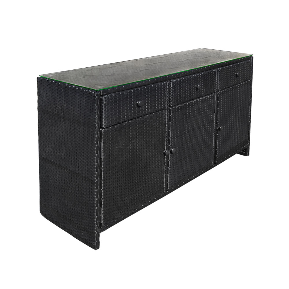 Black 3 Drawers Wicker Rattan Buffet Serving Cabinet Table Towel Storage Counter Throughout 3 Drawer Black Storage Buffets (View 4 of 30)