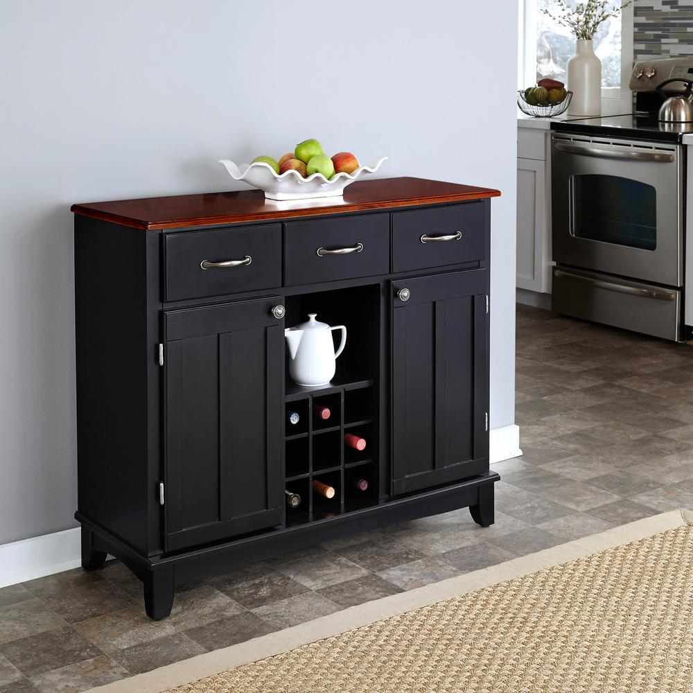 Black And Natural Buffet With Wine Storage Throughout Modern Black Storage Buffets (View 19 of 30)