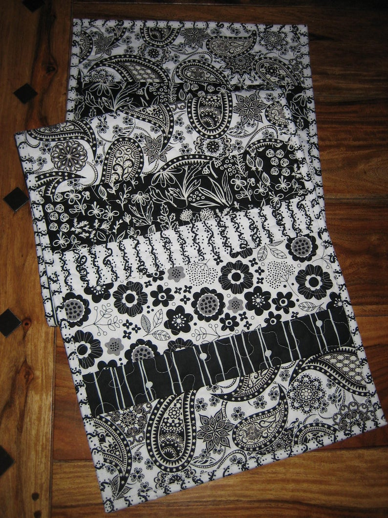 Black And White Modern Quilted Table Runner, Flower Contemporary, (View 3 of 30)