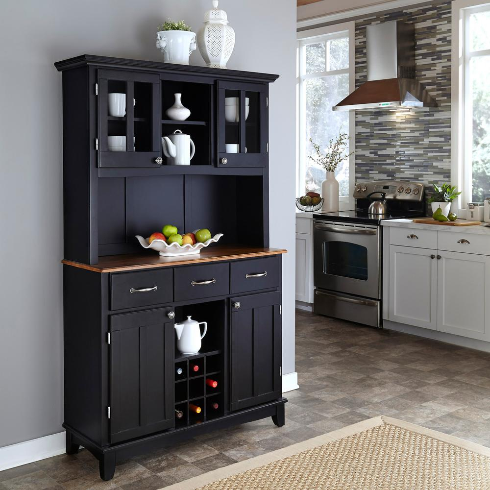 Black Buffet With Hutch regarding 3-Drawer Black Storage Buffets (Image 7 of 30)