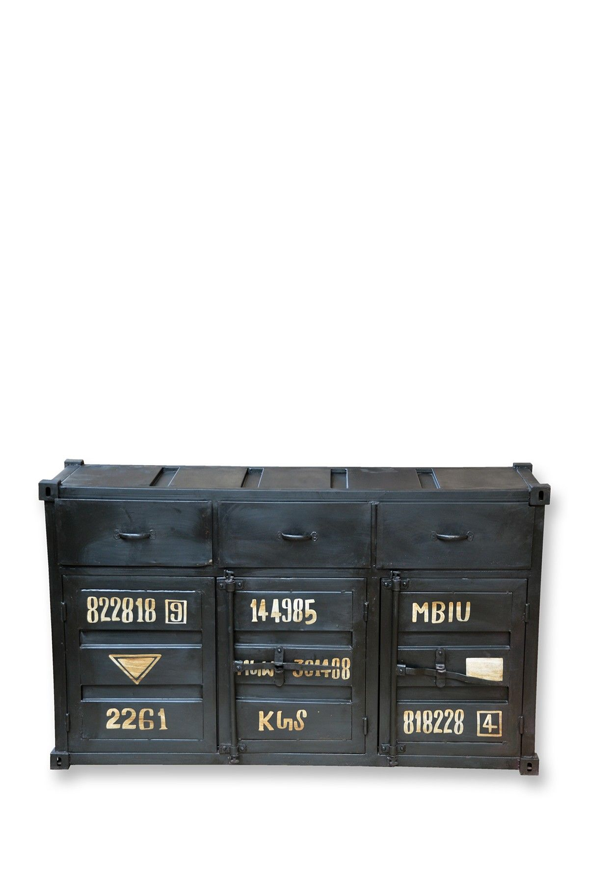 Black Container Style Buffet With 3 Doors And 3 Drawers pertaining to Industrial Style 3-Drawer Buffets (Image 3 of 30)