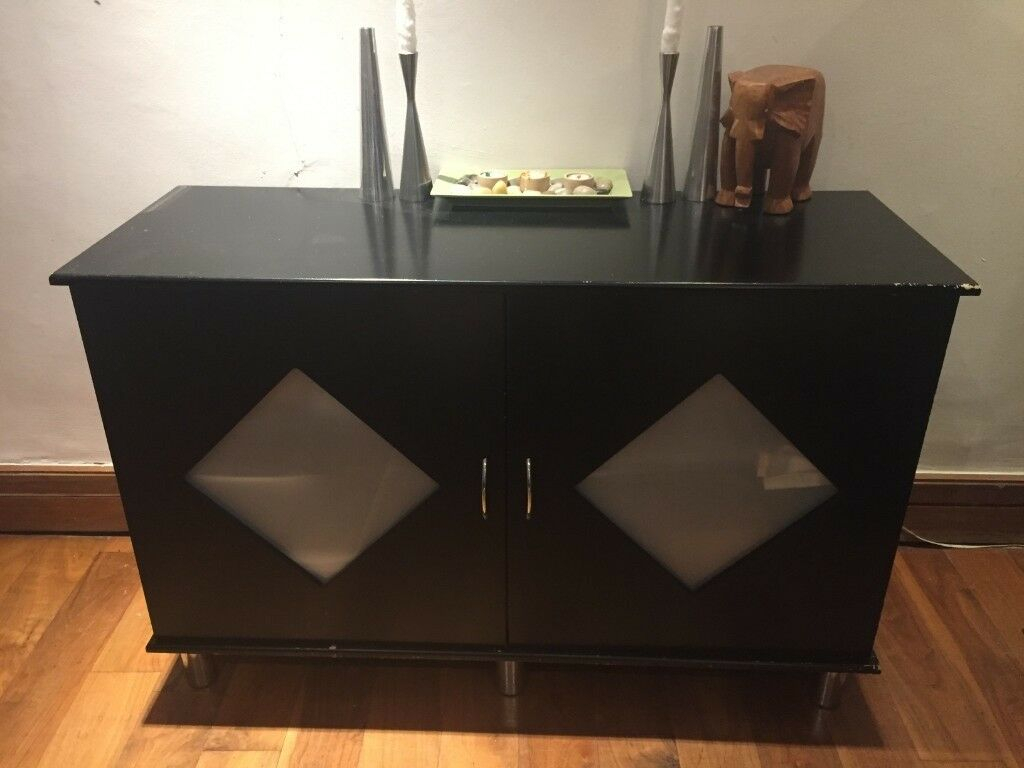 Black Contemporary Buffet And 2 Shelving Columns | In In Contemporary Black Buffets (View 5 of 30)