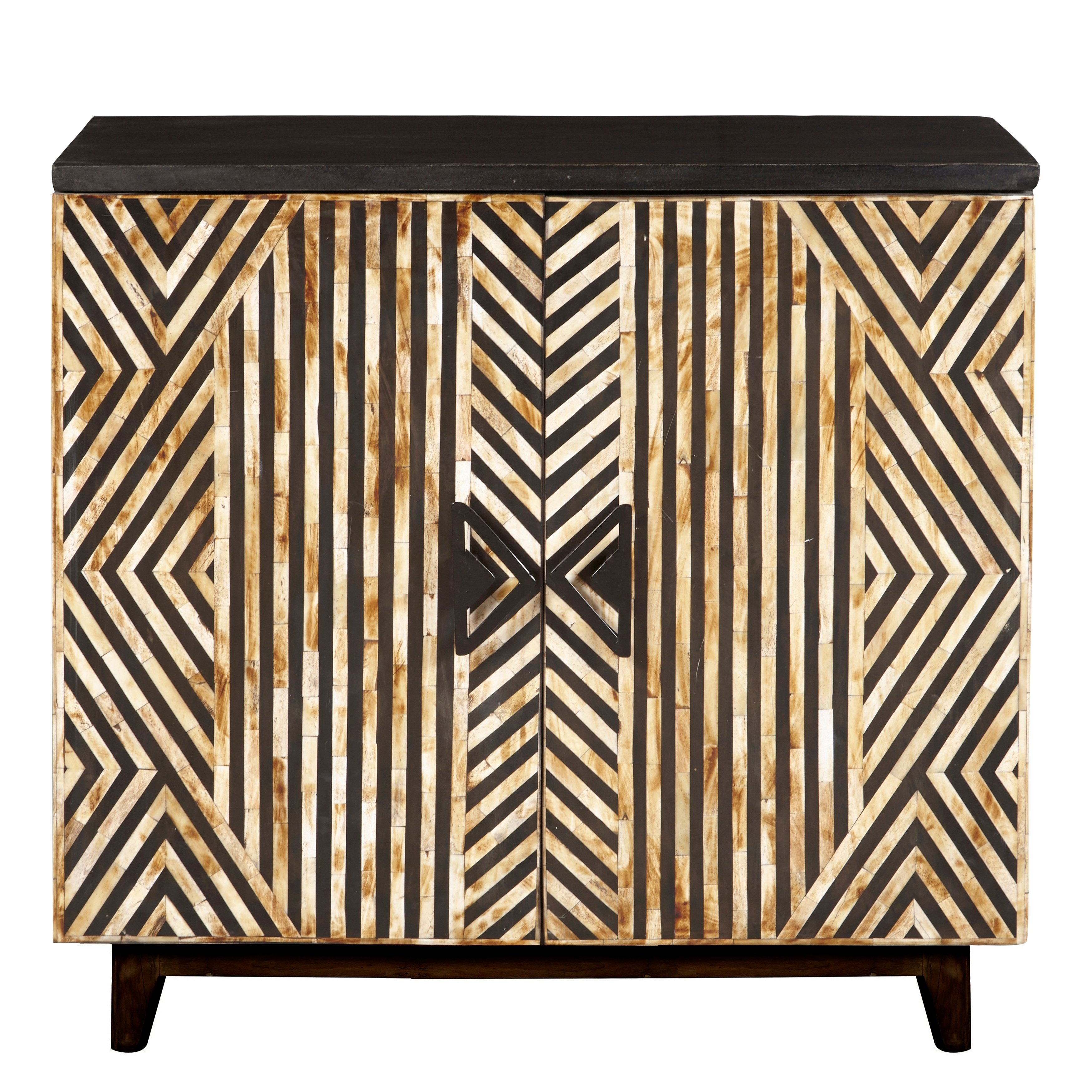 Black/cream Wood Rustic Striped Bone Inlay Accent Chest with regard to Multi Stripe Credenzas (Image 5 of 30)