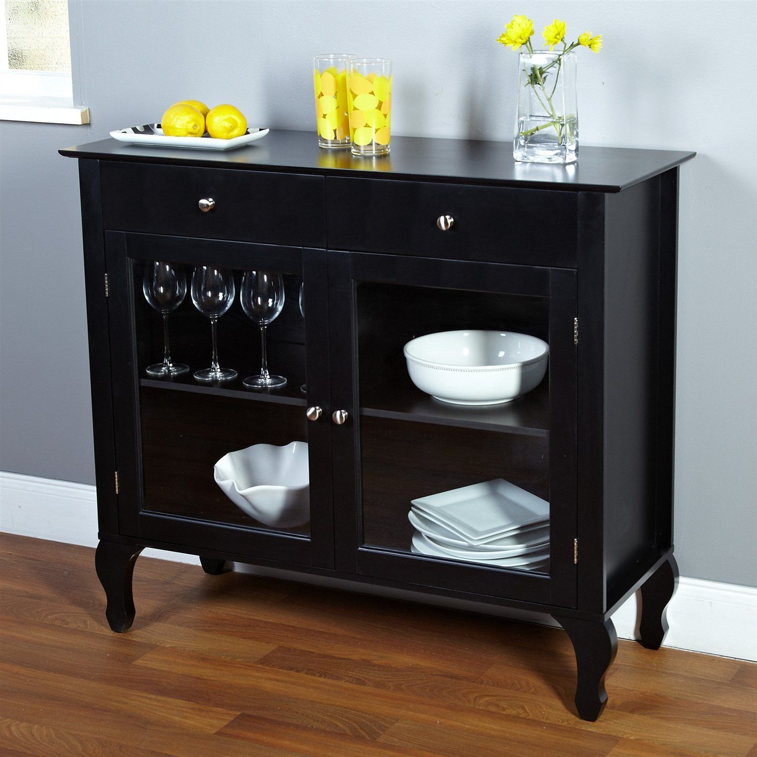 Black Dining Room Buffet Sideboard Server Cabinet With Glass Inside Simple Living Montego Black Wooden Buffets (View 3 of 30)