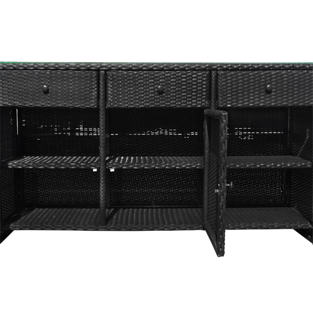 Black Outdoor/indoor 3 Drawers Wicker Rattan Storage Cabinet Buffet Counter In 3 Drawer Black Storage Buffets (View 5 of 30)
