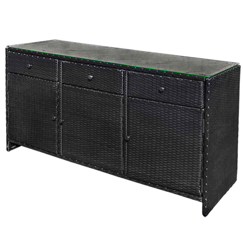 Black Outdoor/indoor 3 Drawers Wicker Rattan Storage Cabinet Buffet Counter Throughout 3 Drawer Black Storage Buffets (View 2 of 30)