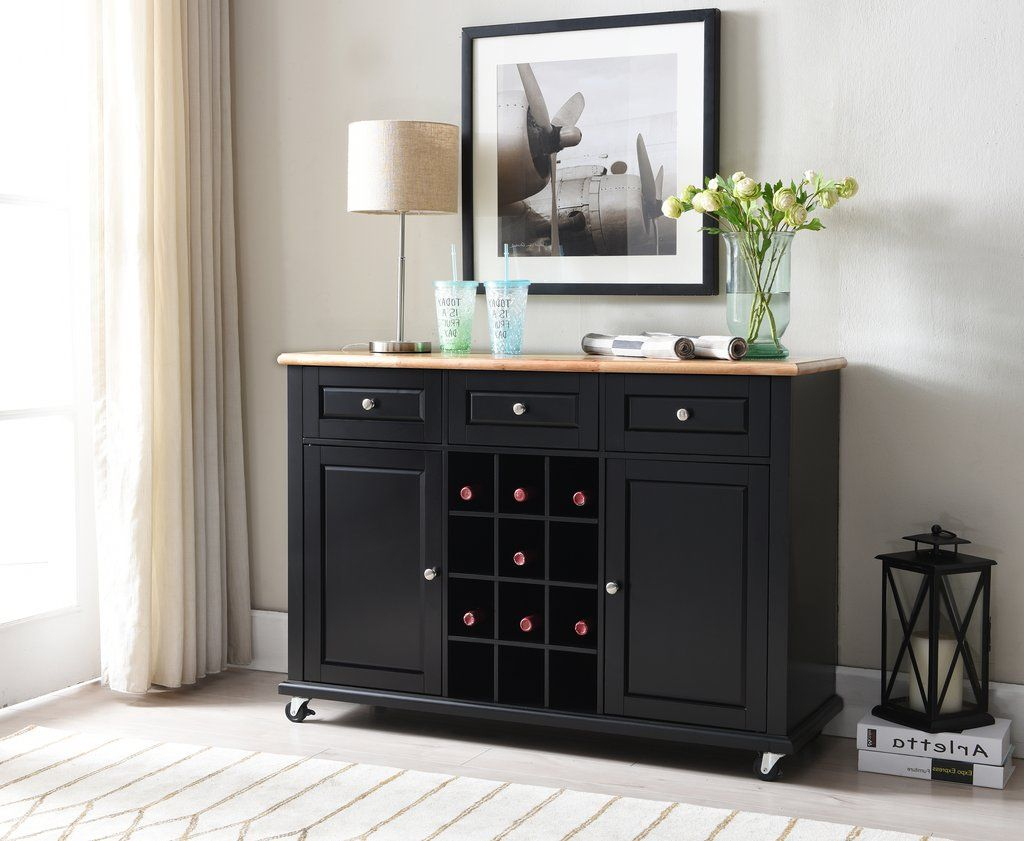 Black Wood Wine Rack Sideboard Buffet Display Console Table with 3-Drawer Black Storage Buffets (Image 10 of 30)