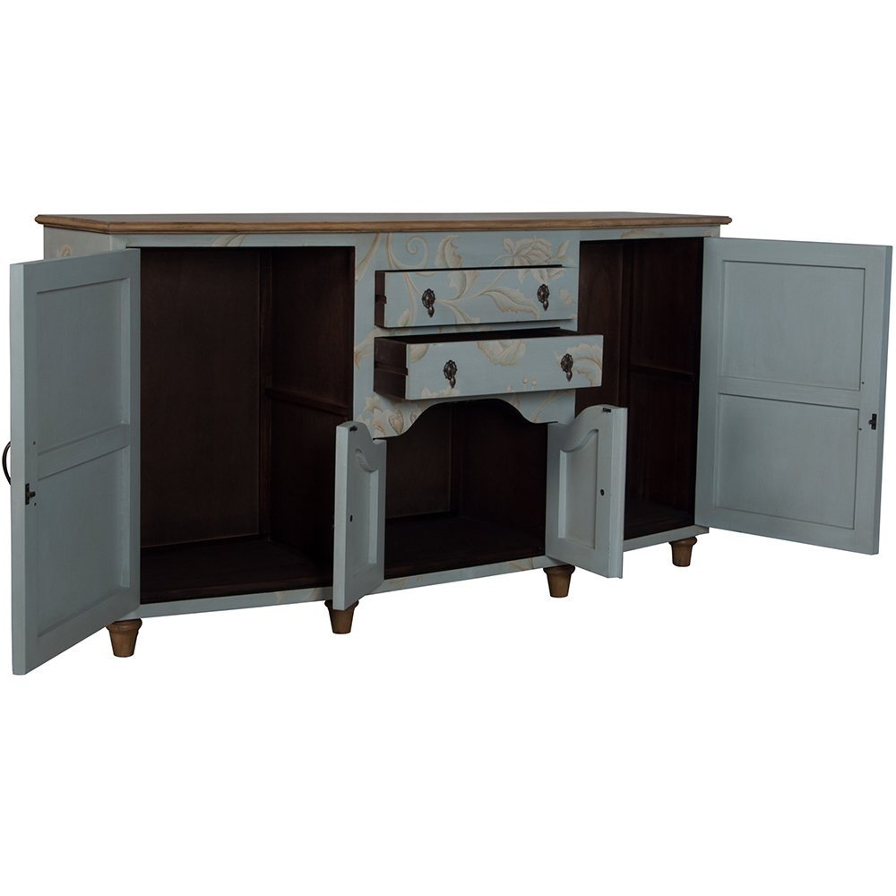 Blue Floral Cottage Credenza Pertaining To Lovely Floral Credenzas (View 14 of 30)