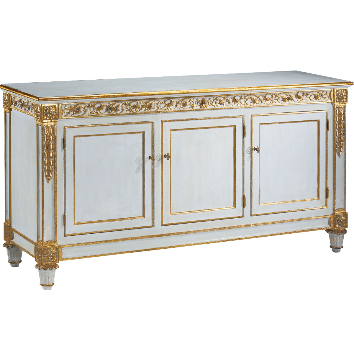 Blue Hand Carved Credenza | Dandelion Spell Throughout Copper Leaf Wood Credenzas (View 4 of 30)