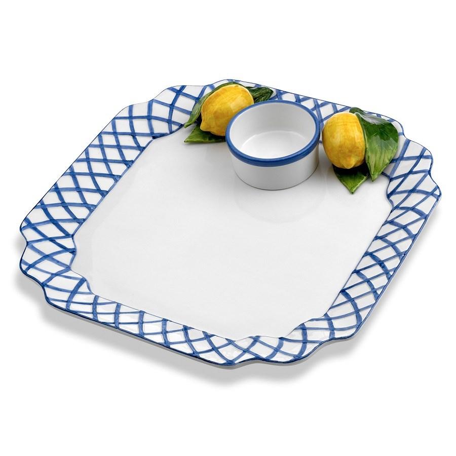 Blue Trellis With Lemons Chip & Dip Regarding Bluetrellis Credenzas (View 10 of 30)