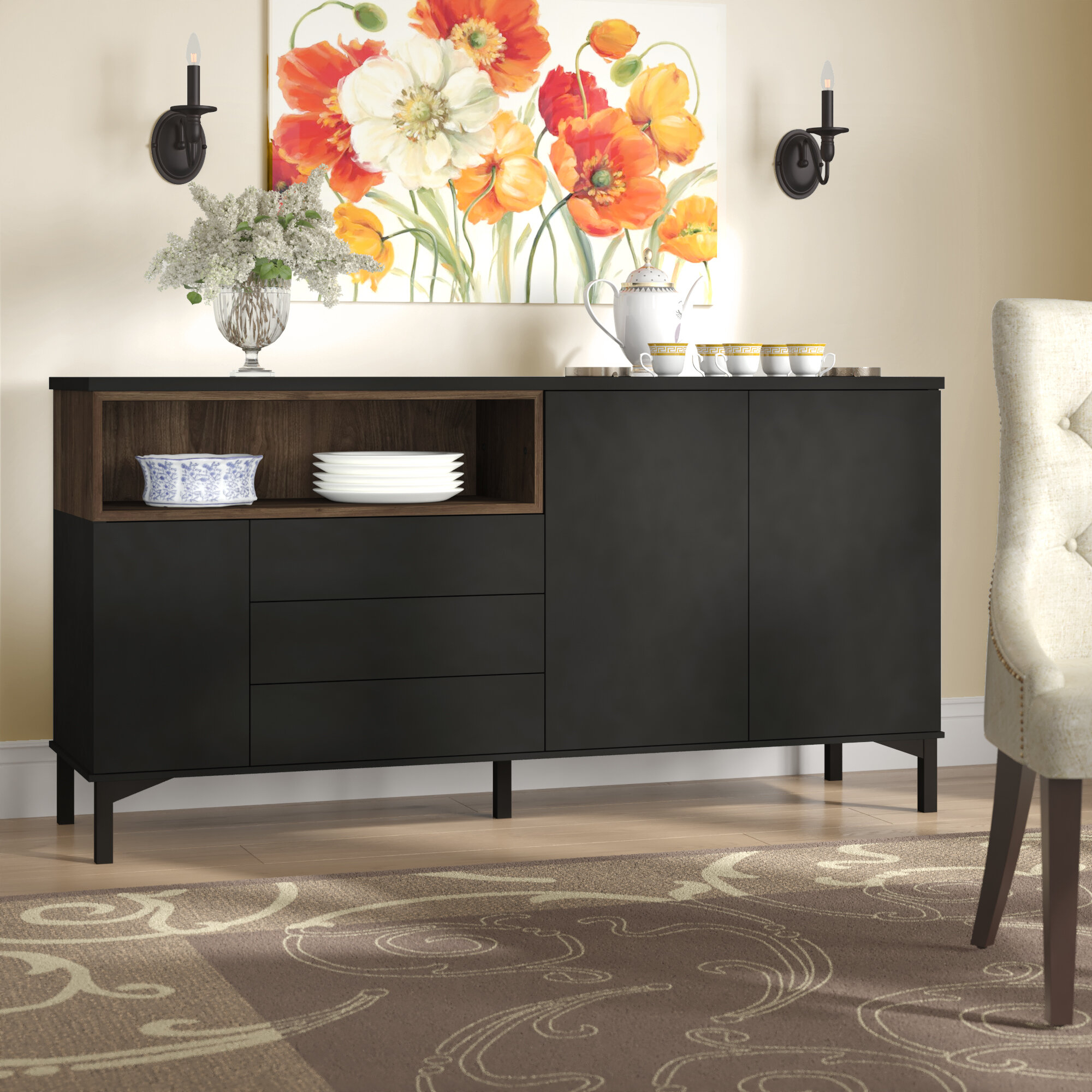 Boggess Sideboard throughout Solid And Composite Wood Buffets In Cappuccino Finish (Image 3 of 30)