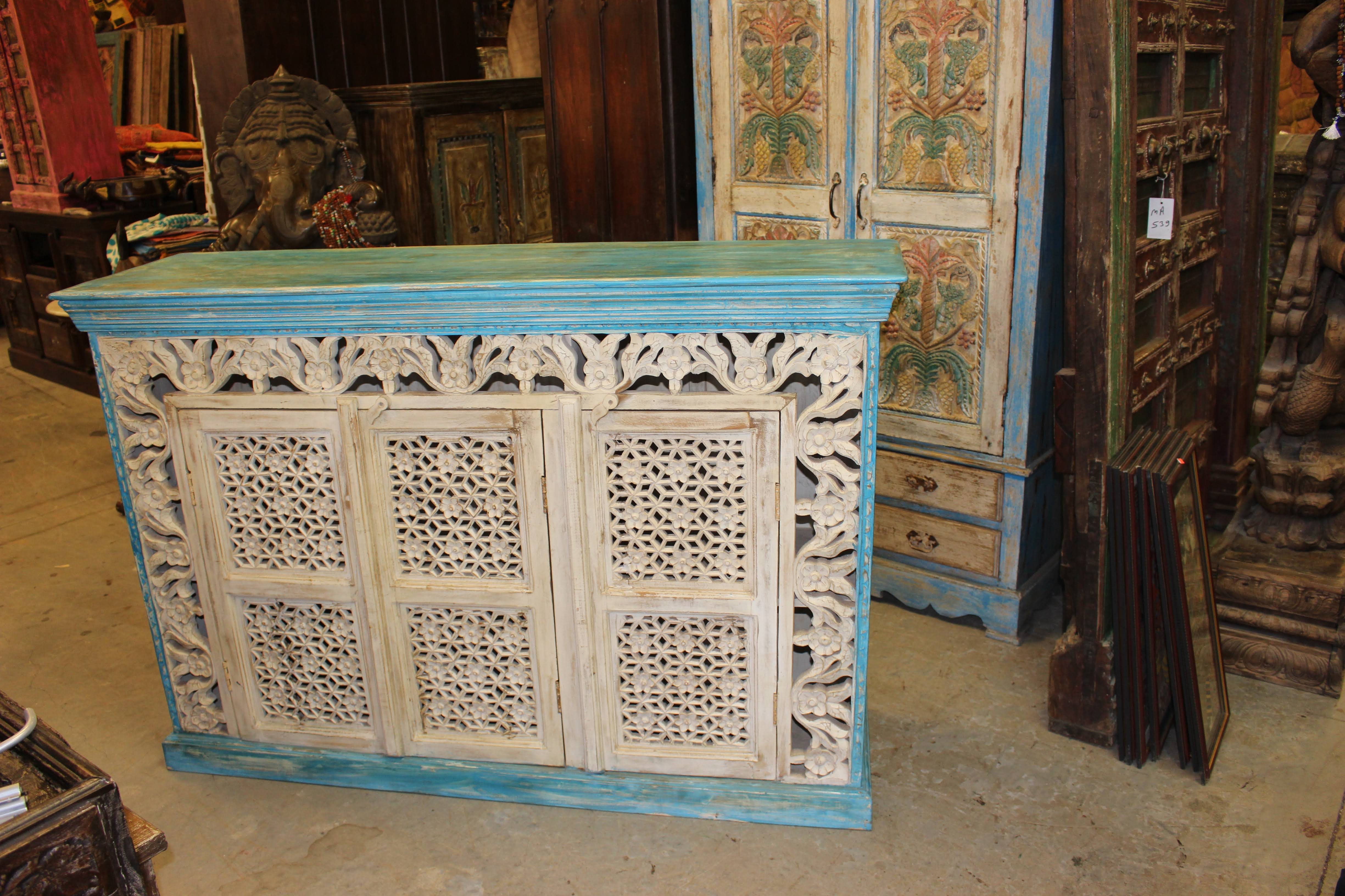 Bohemian Credenza Blue Intricate Carved Vintage Sideboard Pertaining To Lovely Floral Credenzas (View 16 of 30)