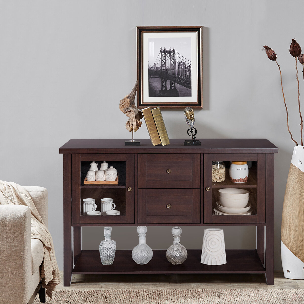 Boxford Buffet Tv Cabinet Wooden Sideboard Pertaining To Contemporary Espresso 2 Cabinet Dining Buffets (View 4 of 30)